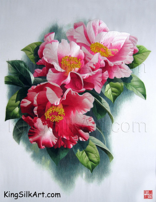 King Silk Art  Flower Trio of Pink Camellias 76041
