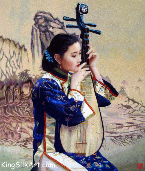 King Silk Art People Lady with a Lute 75039