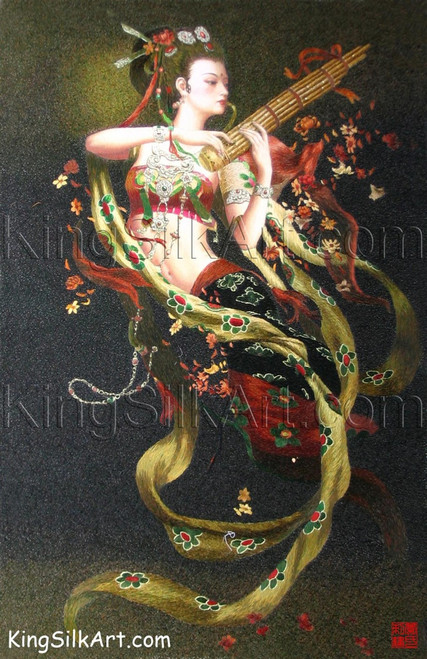 King Silk Art People Lady Peony Playing the Sheng  75015