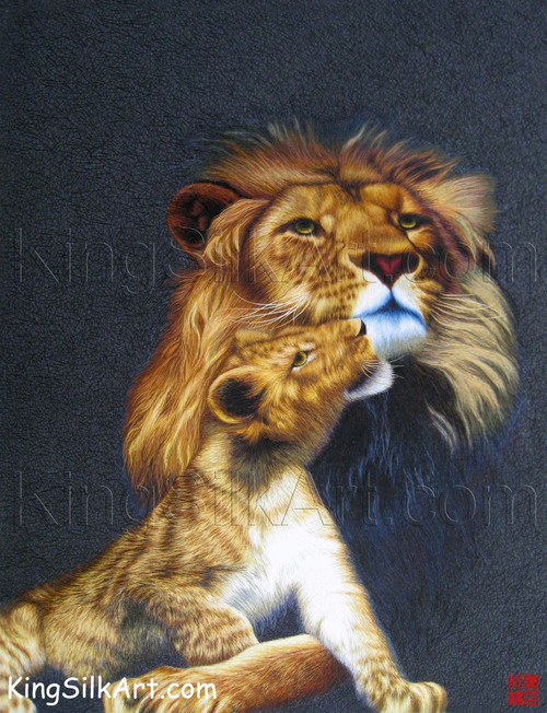 King Silk Art Wildlife Animal Lion and His Cub 74025