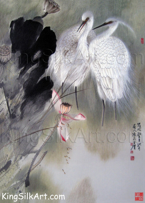 King Silk Art Wildlife Bird White Cranes in  71012