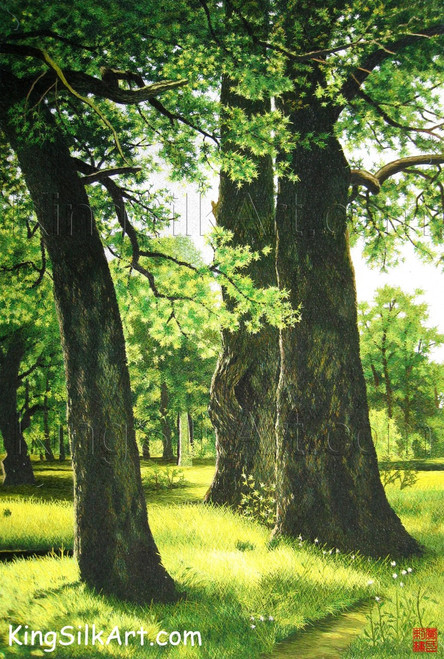 King Silk Art Landscape Spring Forest--Verticle 77086