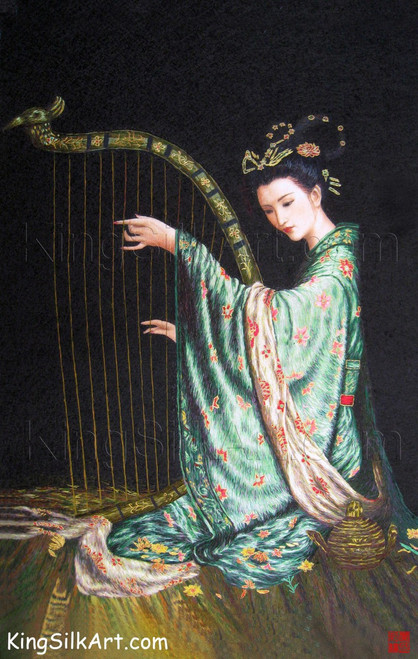 King Silk Art People Lady Playing a Harp 75094