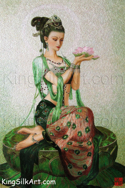 King Silk Art  People Guanyin of the Lotus-Hao 75036