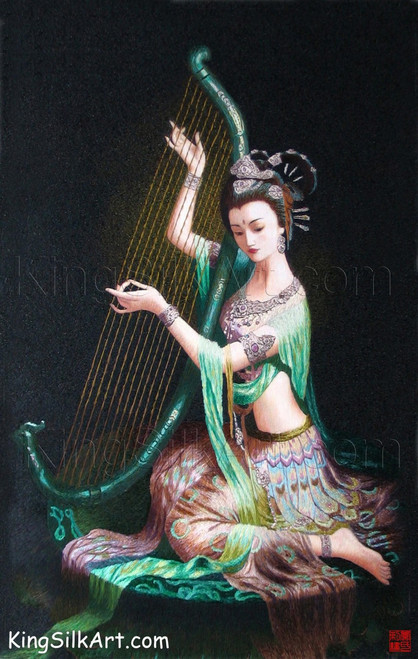 King Silk Art  People Lady Peacock Playing The Harp 75013