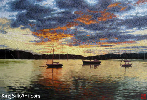 King Silk Art  Landscape Sailboats on the Water at Sunset 87117