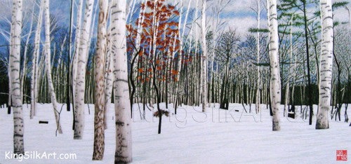 King Silk Art Landscape Birch Forest in Winter 77112