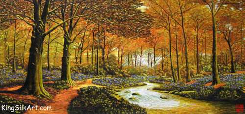 King Silk Art  Landscape Autumn Forest Stream 77076