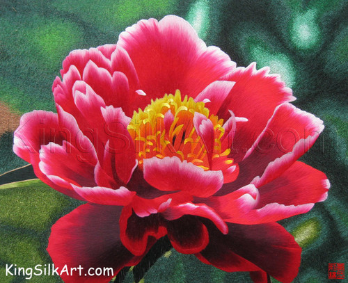 King Silk Art Flower Floral Red Peony with a Yellow Center 76025