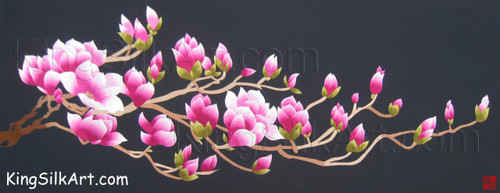 King Silk Art  Flower  Pink Magnolias Facing East 76015
