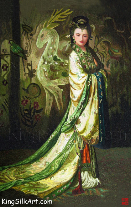 King Silk Art People Lady Peacock Wearing a Long Robe 75038