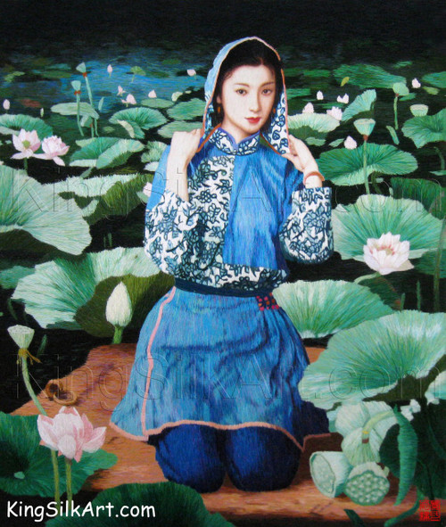 King Silk Art People Hooded Lady by the Lotus Pond 75026