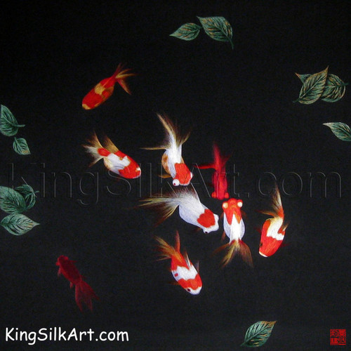 King Silk Art Wildlife Fish Goldfish in the Plants 72014