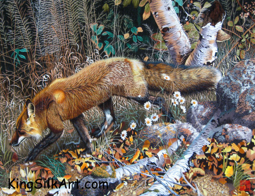 King Silk Art  Wildlife Animal Fox in the Autumn Woods 74019