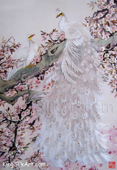 King Silk Art Wildlife Bird White Peacock and Peahen in a Plum Tree 71050