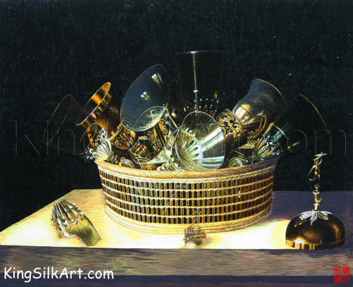 King Silk Art Still Life with a Basket of Glasses-Stoskopff 78010