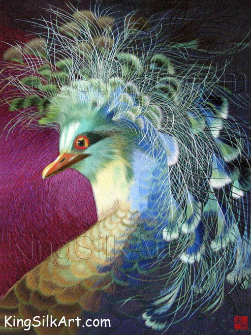 King Silk Art Wildlife Bird Colorful Peacock on Magenta 71041