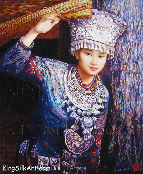 King Silk Art  People Girl with a Grass Blind 75084