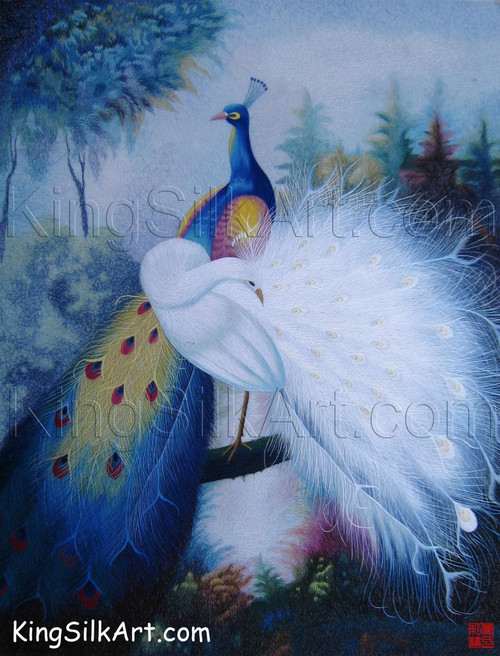 King Silk Art  Wildlife Bird Blue and White Peacocks on a Branch 71048