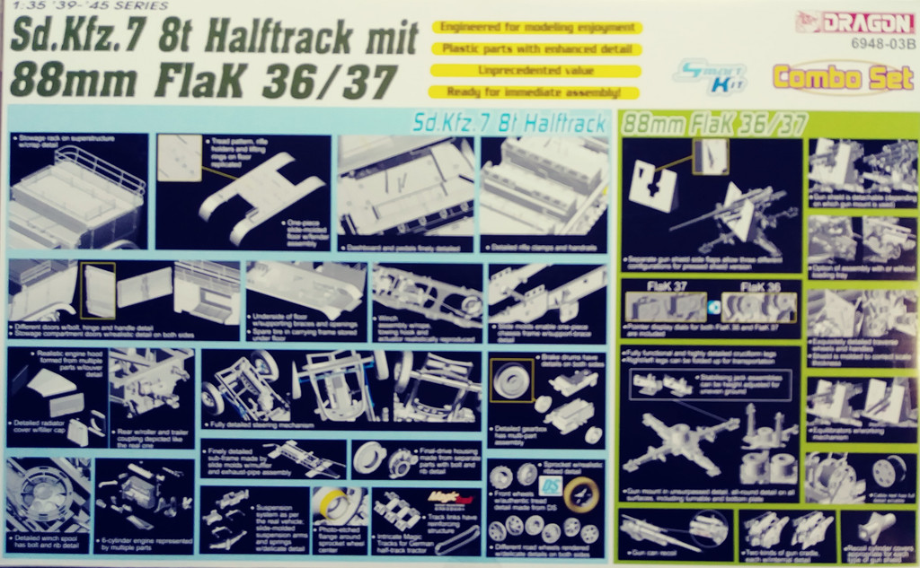 Dragon 6948   1/35  Sd.Kfz 7 8ton Halftrack mit 88mm Flak 36/37 w/ 2figure sets