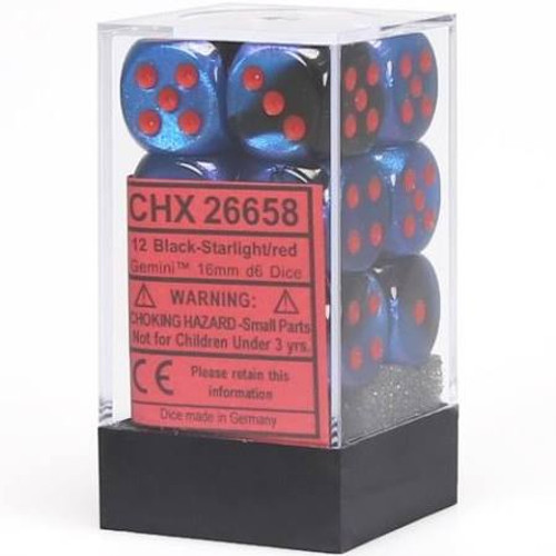 This Black Starlight Red Dice set contains 12 rounded 16mm dice.