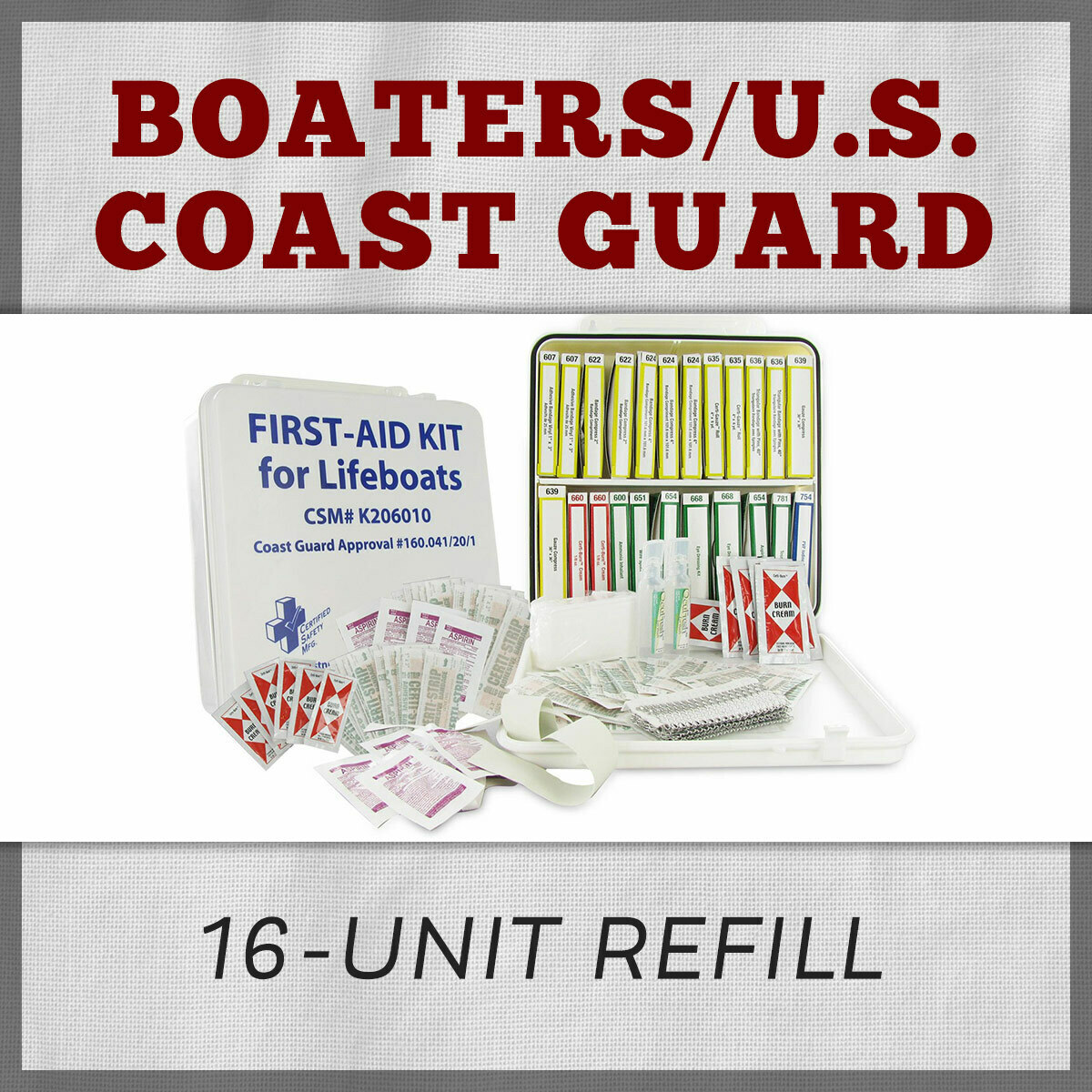 Boaters/Coast Guard 16-Unit First Aid Kit Refill