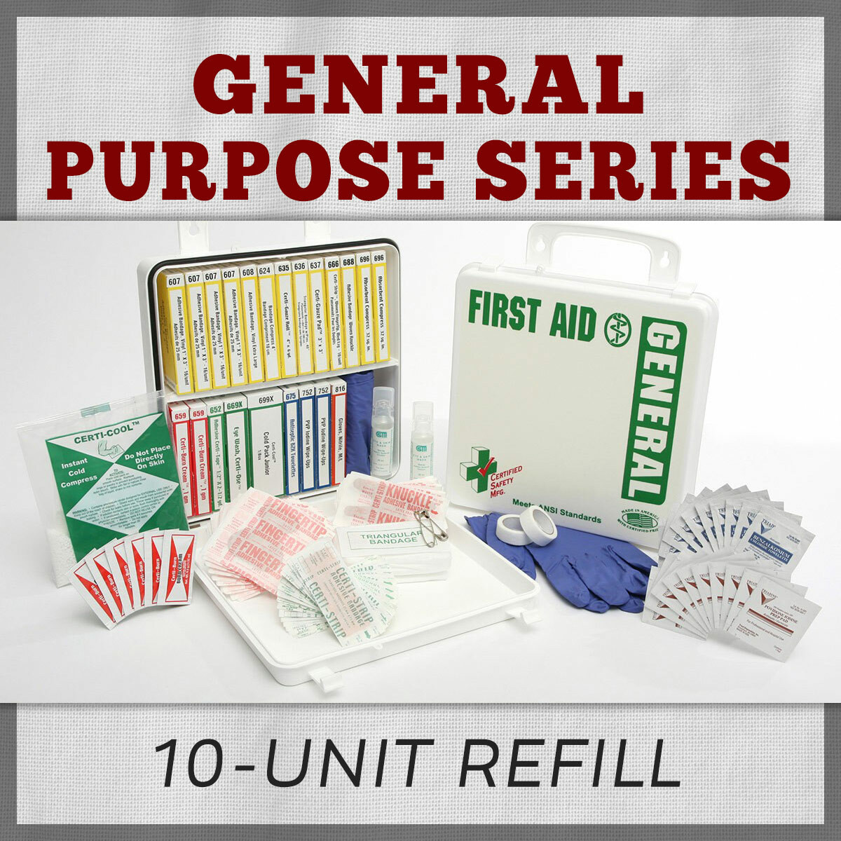 General Purpose 10-Unit First Aid Kit Refill