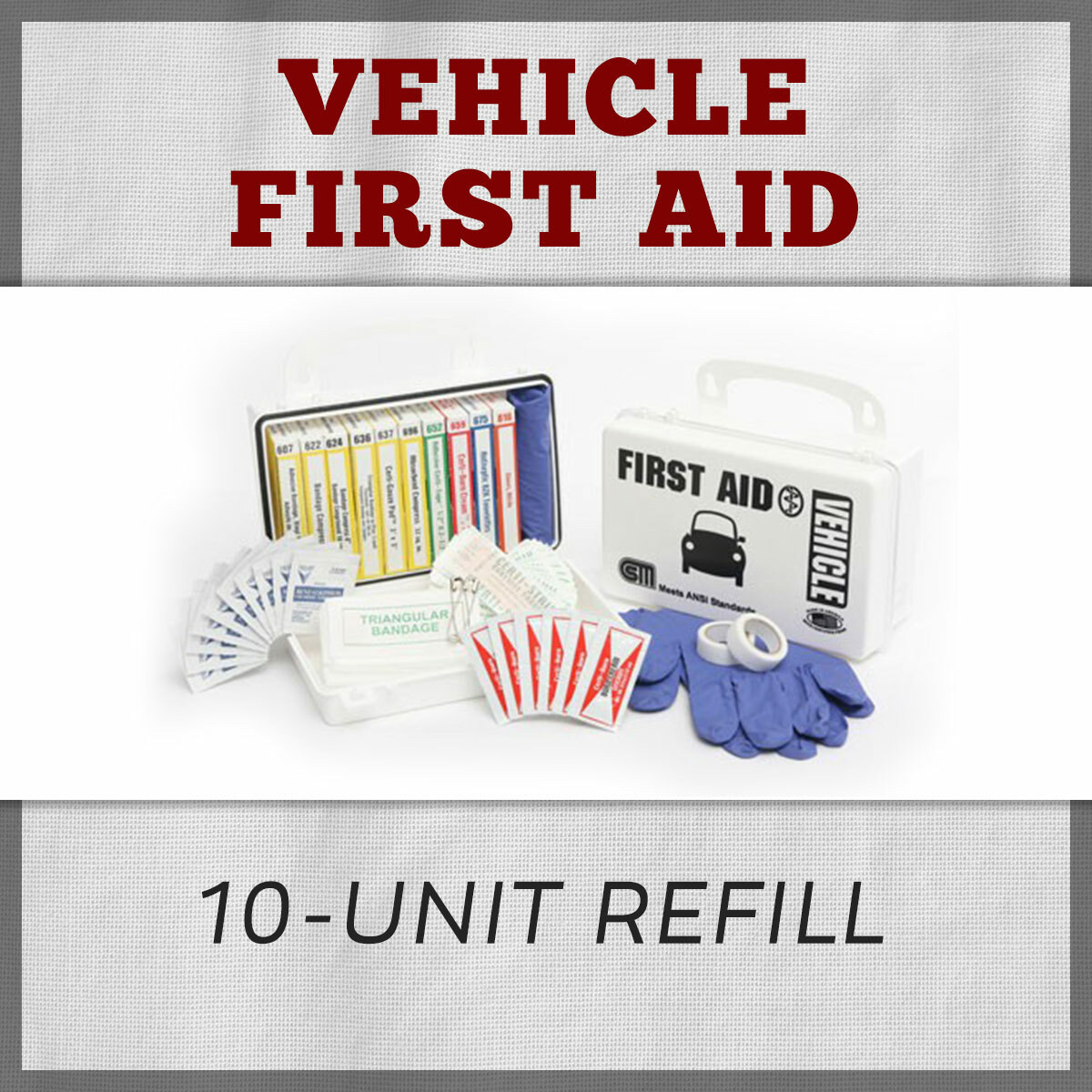 Vehicle 10-Unit First Aid Kit Refill