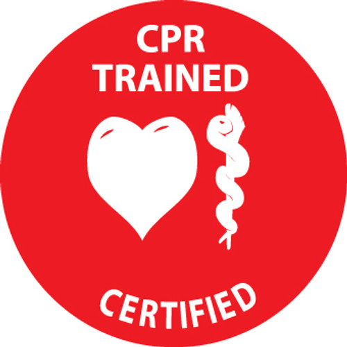 "CPR Trained Certified, 2"", Pressure Sensitive Vinyl Hard Hat Emblem, 25 per Pack"
