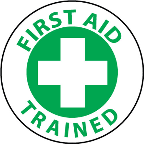 "First Aid Trained, 2"", Pressure Sensitive Vinyl Hard Hat Emblem, Single Sticker"
