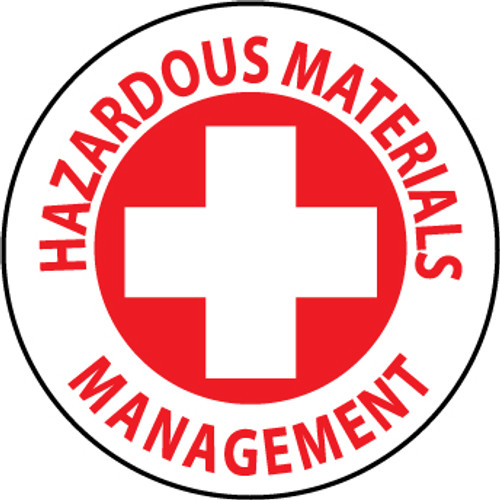 "Hazardous Materials Management, 2"", Pressure Sensitive Vinyl Hard Hat Emblem, 25 per Pack"
