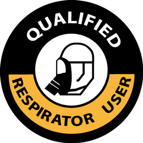 "Qualified Respirator User, 2"", Pressure Sensitive Vinyl Hard Hat Emblem, 25 per Pack"