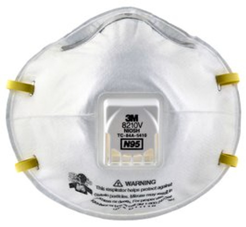Box of 10 3M Particulate Respirator 8210V N95 Respiratory Protection - Headband Style