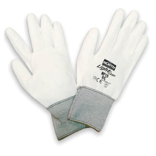 North Safety White Polyurethane Coated Gloves