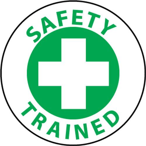 """Safety Trained, 2"""", Pressure Sensitive Vinyl Hard Hat Emblem, 25 per Pack"""
