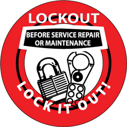 "Lockout Before Service Repair Or Maintenance Lock It Out, 2"", Pressure Sensitive Vinyl Hard Hat Emblem, Single Sticker"
