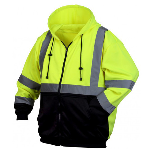 Pyramex Lumen-X Class 3 High-Vis Lime Zip Black Bottom Sweatshirt - RSZH32