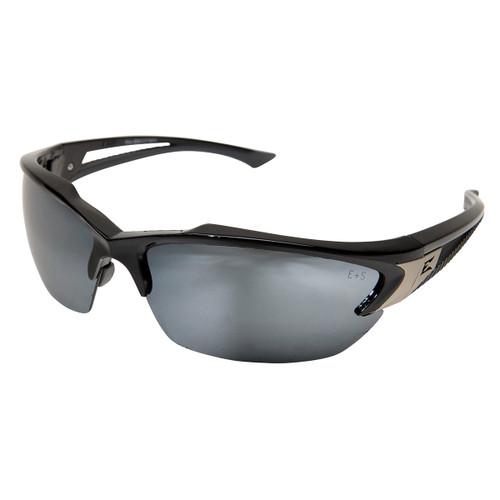 Edge Khor Safety Glasses with Black Frame - Silver Mirror Lens