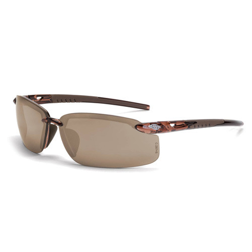 Crossfire Bifocal Safety Glasses - 1.5 Diopter - Brown Mirror Lens