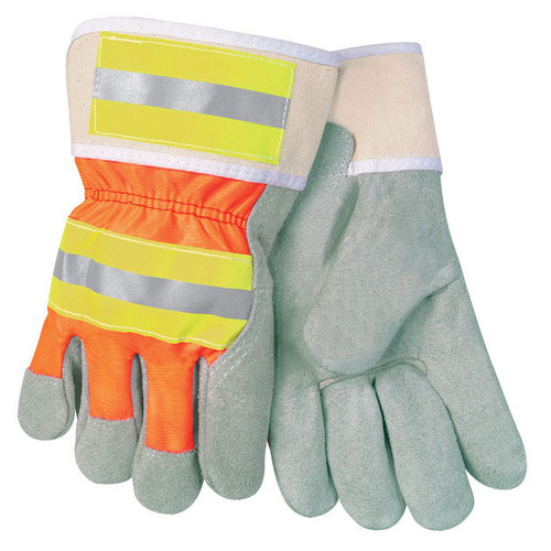 MCR Safety 12440R High-Vis Economy Leather Palm Gloves - Single Pair