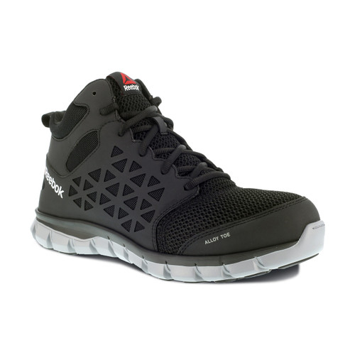 Reebok Women's Sublite High Top Alloy Toe Black Athletic Work Shoe RB411