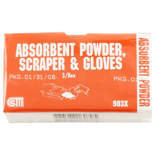 Absorbent Powder, 2 oz. w/Scraper and Gloves, 3 pack