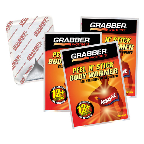 Grabber 12 Hour Body Warmers with Adhesive - 3 Pack