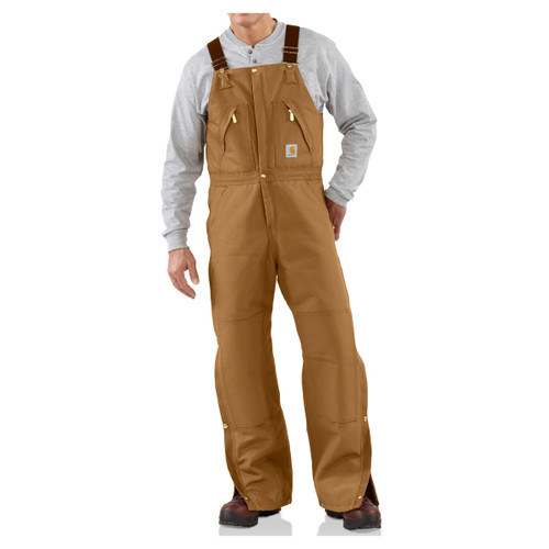 Carhartt Men's Duck Zip-to-Waist Bib Overalls Quilt Lined - R38
