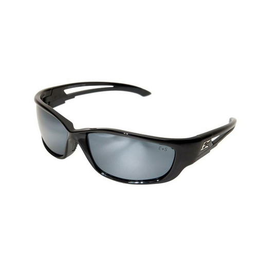 Edge Kazbek XL Safety Glasses with Black Frame - Silver Mirror Lens