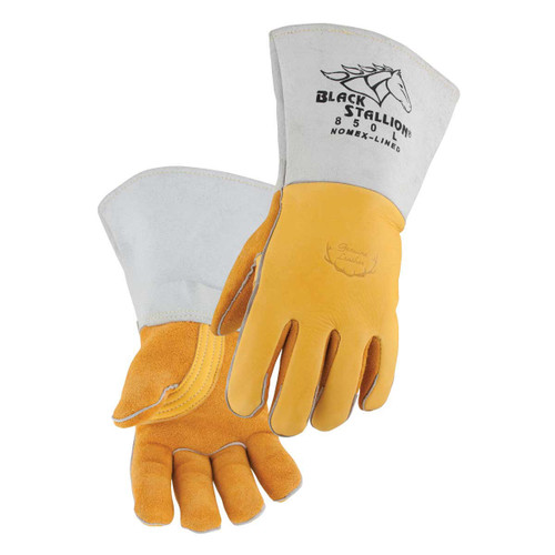 Black Stallion Elkskin Nomex Lined Back Stick Gloves - 850