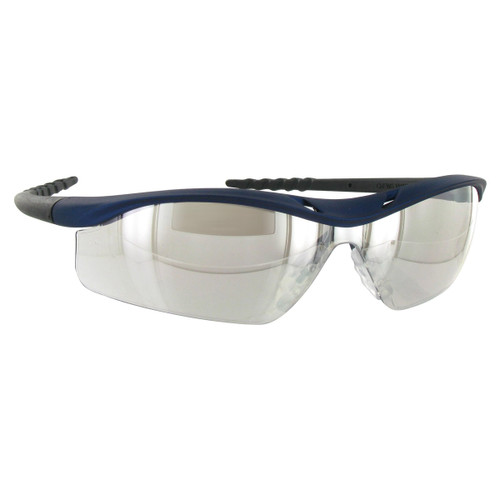 Crews Dallas Safety Glasses with Blue Metallic Frame and Indoor/Outdoor Mirror Anti-Fog Lens