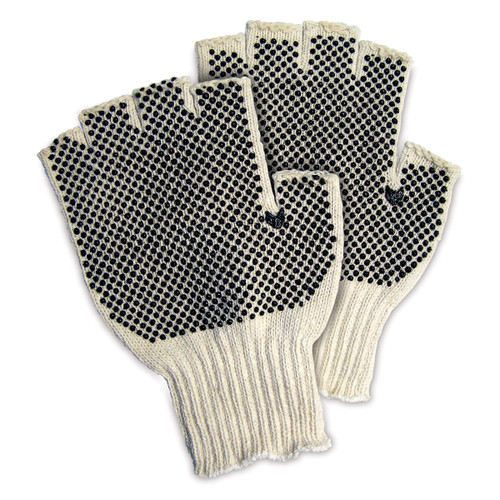 Memphis Fingerless Work Glove-CottonPoly PVC Dots - Pack of 12 Pairs