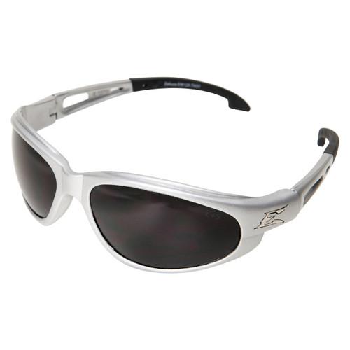 Edge Dakura Safety Glasses with Silver Frame - Smoke Lens