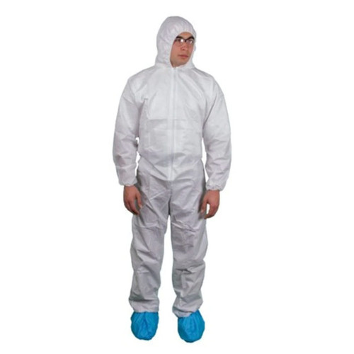Heavyweight SMS Disposable Hooded Coveralls Suit with Elastic Wrists and Ankles - Size M